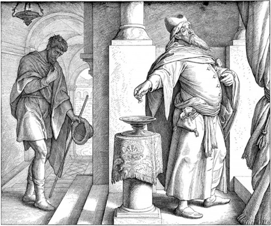 Pharisee and tax collector in temple