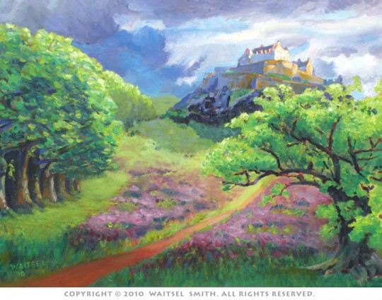 Scottish Castle with Heather - Original Oil Painting by Artist Waitsel Smith