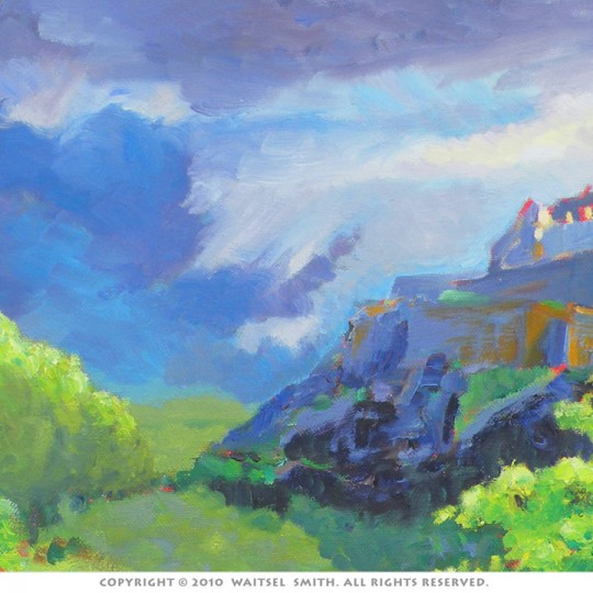 Scottish Castle with Heather - Detail 2 - Oil Painting by Artist Waitsel Smith