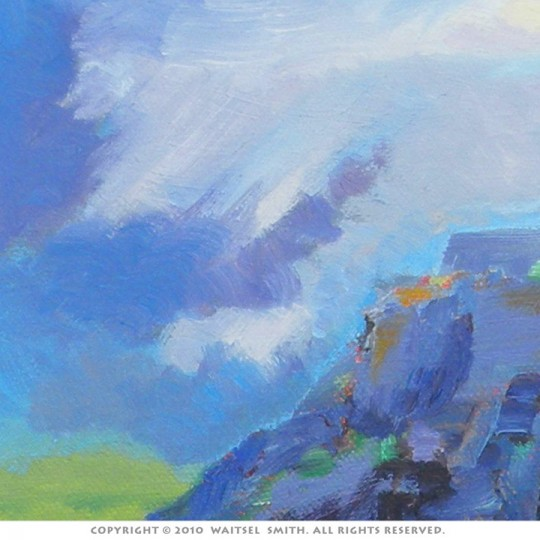 Scottish Castle with Heather - Detail 4 - Original Oil Painting by Artist Waitsel Smith