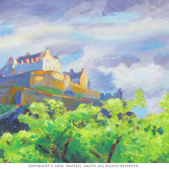 Scottish Castle with Heather - Detail 5 - Original Oil Painting by Artist Waitsel Smith