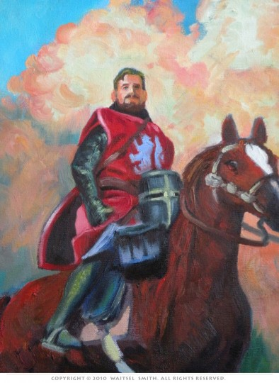Red Knight - Detail - Original Oil Painting by Artist Waitsel Smith