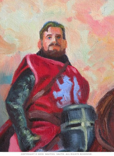 Red Knight - Detail 2 - Oil Painting by Artist Waitsel Smith