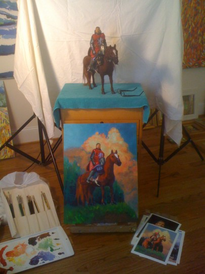 Set-up for Red Knight painting.