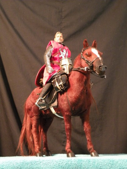 Model set-up for Red Knight painting. 1/6 scale figures of knight and horse.