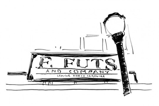F. Futs and Company, Lenoir, North Carolina, pen and ink illustration by Waitsel Smith