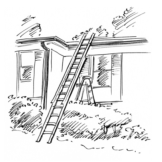 Ladder Against the House, pen and ink illustration by Waitsel Smith