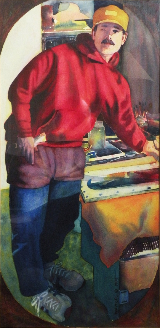 Man in Jogging Suit - self-portrait in watercolor by artist Waitsel Smith
