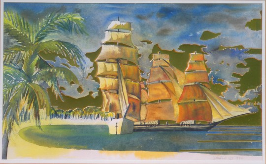 Tall Ships - Watercolor painting cutout by artist Waitsel Smith