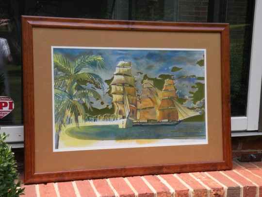Tall Ships, Framed - watercolor painting cutout by artist Waitsel Smith