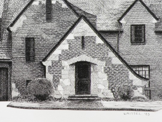 Mullis House, Detail - pen & ink drawing by artist Waitsel Smith