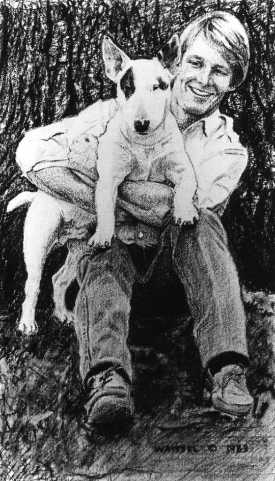 John & Magnum - charcoal drawing by artist Waitsel Smith