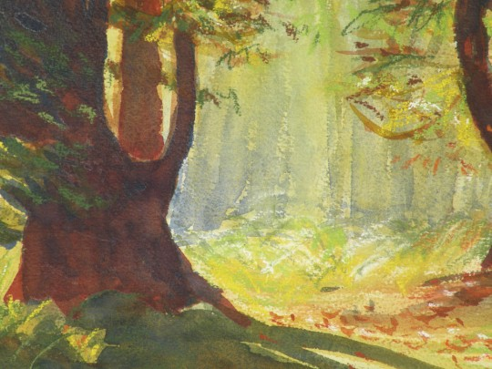 Ride Through the Forest, Detail - watercolor painting by artist Waitsel Smith
