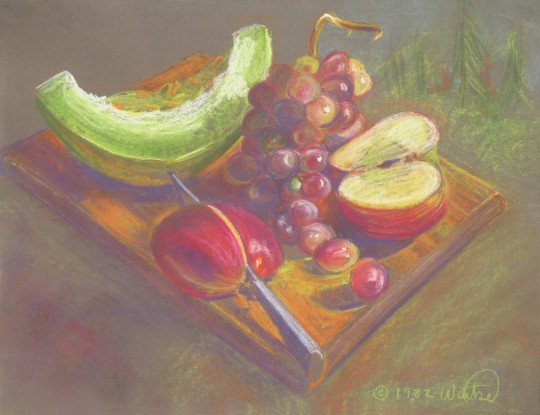 Frontier Fruit - pastel drawing by artist Waitsel Smith