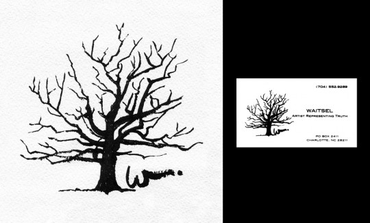 Oak Tree Logo - brush & ink drawing by artist Waitsel Smith
