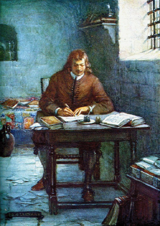 John Bunyan writing Pilgrim's Progress in prison