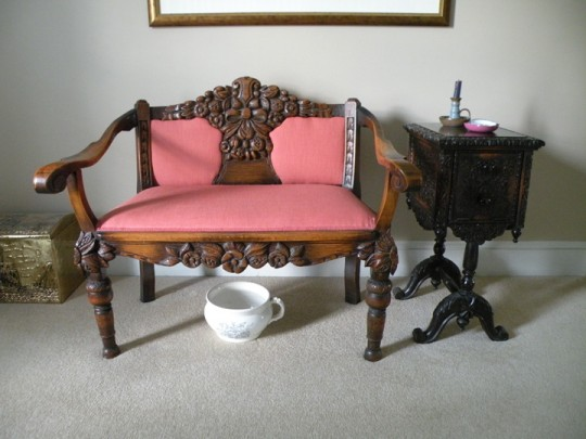 T J Stone carved settee