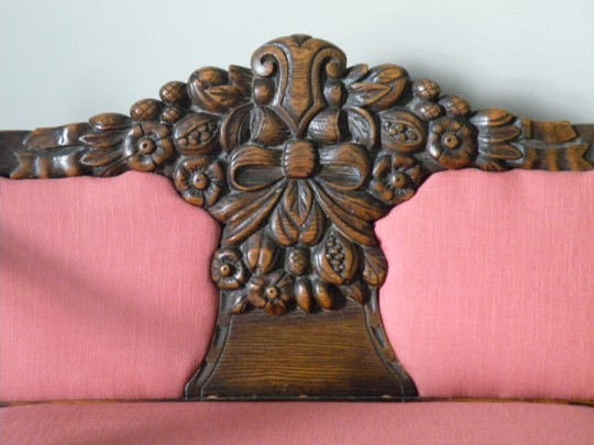 T J Stone carved settee back