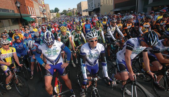 Bridge to Bridge Incredible Challenge Bike Ride - Starting Line in Downtown Lenoir