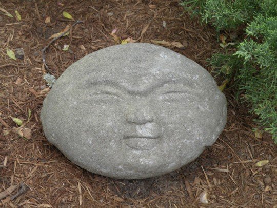 This stone, shaped like a stylized head, is just one of many Japanese-inspired objects.
