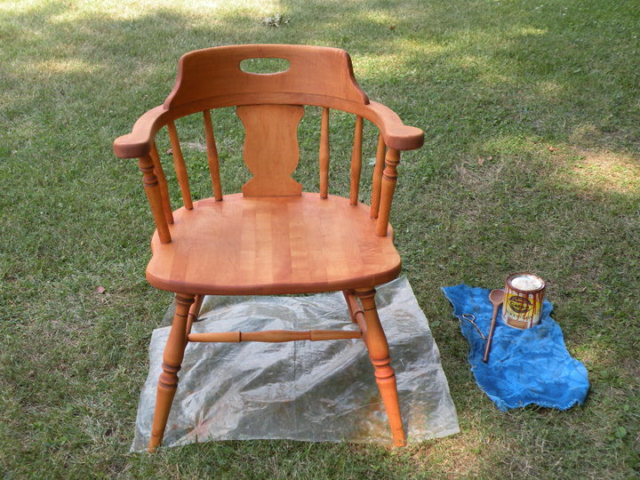 refinishing furniture fully stained chair