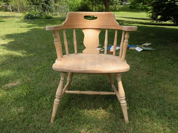 refinishing furniture seat of fully sanded chair